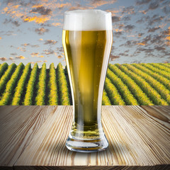 Glas of beer on table with vineyard scene