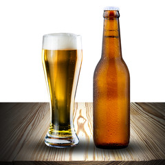 Glass and bottle of beer on wood table
