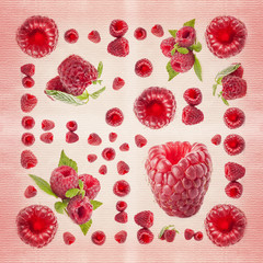 Raspberry background on textured paper (Print on a napkin)