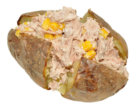 Baked Potato With Tuna And Sweet Corn Filling