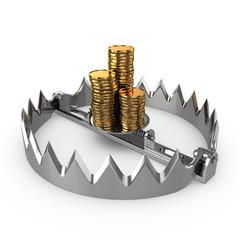 Risk concept. Golden coins on bear trap.