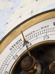 Close-up of a vintage aneroid baromter