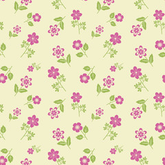 Seamless pink flowers decorative pattern
