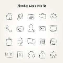 Sketched menu icon set