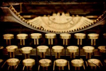 Aluminium Prints Vintage Poster Retroplakat - Mechanische Schreibmaschine
