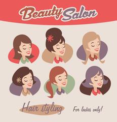 Retro female beauty emblems