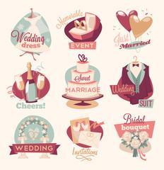 Retro wedding emblems
