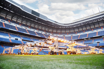Aluminium Prints Stadion Lighting system for growing grass and lawn at empty stadium
