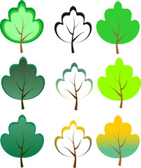 Green trees. Vector illustration