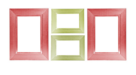 Colorful wooden frames on white background