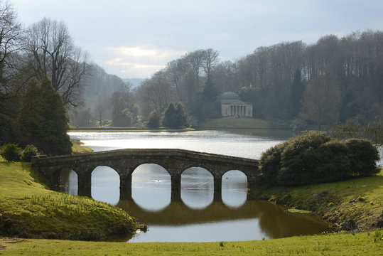 Bridge and temple in the gardens at Stourhead