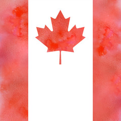 canadian flag on watercolor with solt texture