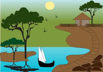Poster de jardin Oiseaux, Abeilles Little house on the beach