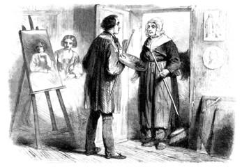 La pose en embrasure Art Studio Painter - Peintre - Maler - 19th century
