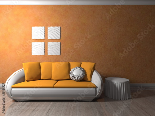 Wohndesign Sofa Weiss Orange Vor Orangener Tapete Stock Photo And