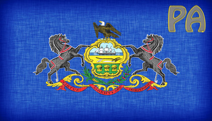 Linen flag of the US state of Pennsylvania