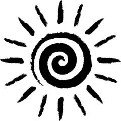 Foto op Canvas Spiraal Schwarze, spiralenförmig gezeichnete Sonne – Vektor/freigestellt