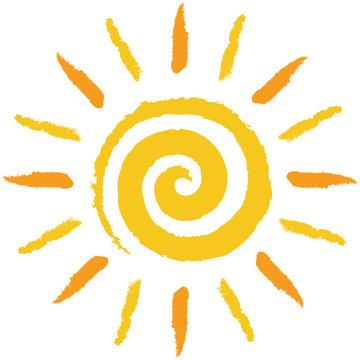 Gelb-orange, handgezeichnete Spiralensonne – Vektor/freigestellt