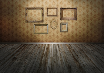 Wall with art frames