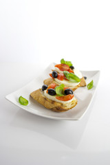 bruschetta over white background
