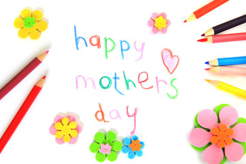 Happy mothers day card made by a child.