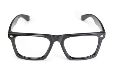 Classic Glasses on white background. Closeup.