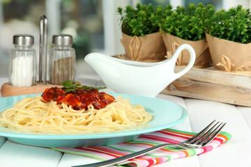 Italian spaghetti served in cafe