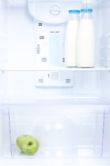 Open refrigerator with diet food