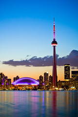 Wall Murals Toronto Toronto cityscape with beautiful sunset skyline as background