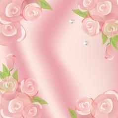 バラと柔らかい布の背景