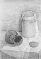 Pencil drawing of a still life