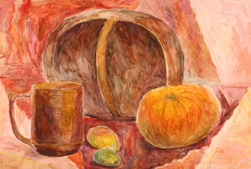 Watercolor still life with drapery