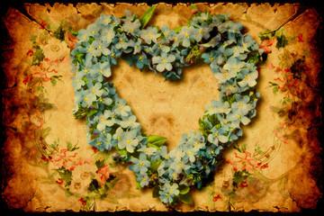 Foto auf Acrylglas Weinlese-Plakat Retroplakat - Herz aus Blumen