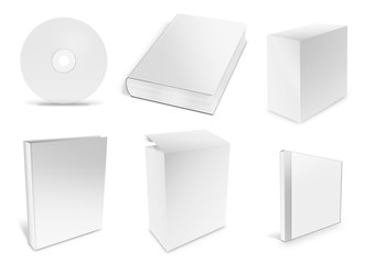 collection of various blank white paper on white background