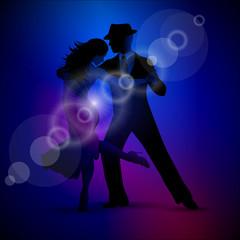 Vector design with couple dancing tango on dark background.