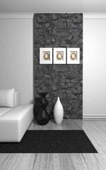 Wohndesign - Teppich schwarz vor Naturstein Mauer