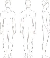 Vector illustration of man's figure. Front, back, side views