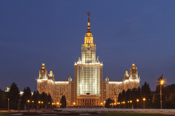 Lomonosov Moscow State University. Night view.