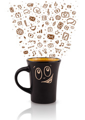 Coffee-mug with hand drawn media icons