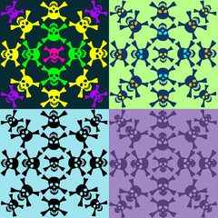 Set of seamless pattern of skulls
