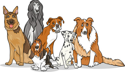cute purebred dogs group cartoon illustration
