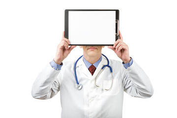 physician holding clipboard with paper