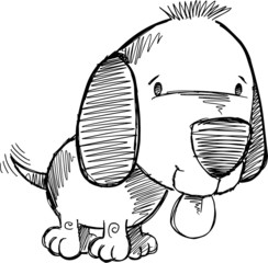 Puppy Dog Sketch Doodle Drawing Illustration Art