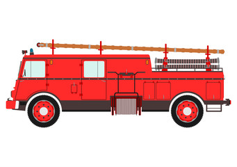 Retro fire truck on a white background.