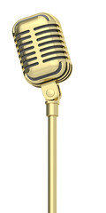 golden microphone on a white background