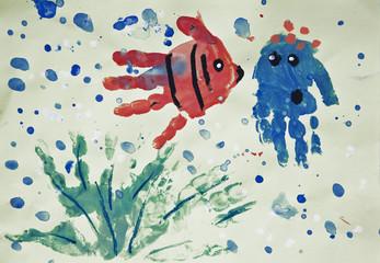 Underwater world, painted handprints of the child