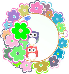 Owl bird couple in love