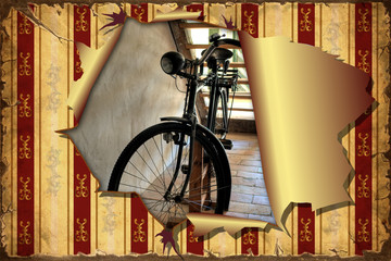3D Aufgerissene Tapete - Fahrrad