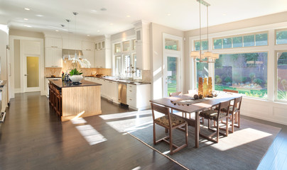 Kitchen and Dining Room Panorama in New Luxury Home