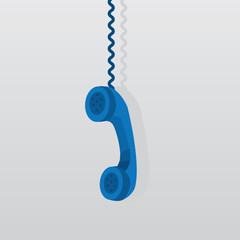 Blue phone hanging from above